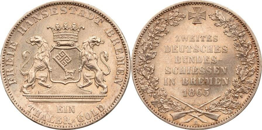 1 Taler 1865 Bremen Stadt Bremen Stadt, 1 Taler, 2. Deutsches Bundesschiessen vz/st