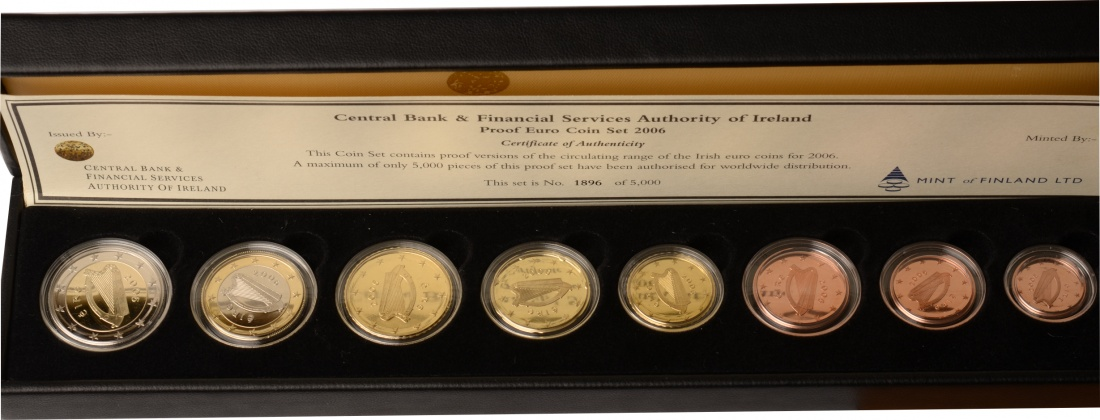 1 Cent- 2 Euro 2006 Irland Irland, KMS, Kursmünzensatz, 2006, PP, inkl. Etui und Zertifikat PP