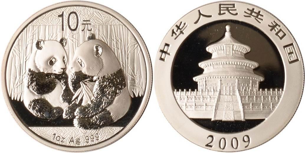 10 Yuan 2009 China China, 10 Yuan, 1 Oz Silber, Panda, 2009, st st