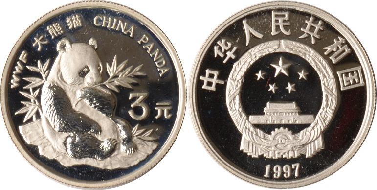 3 Yuan 1997 China China, 3 Yuan, World Wildlife Fund, Panda, 1997, PP in Kapsel PP