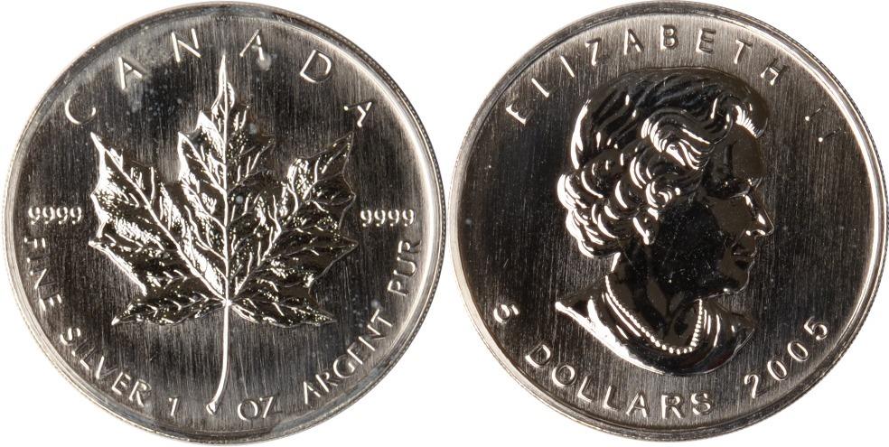 5 Dolalrs 2005 Kanada Kanada, 5 Dollars, 1 Unze Silber, Maple Leaf, 2005, st st