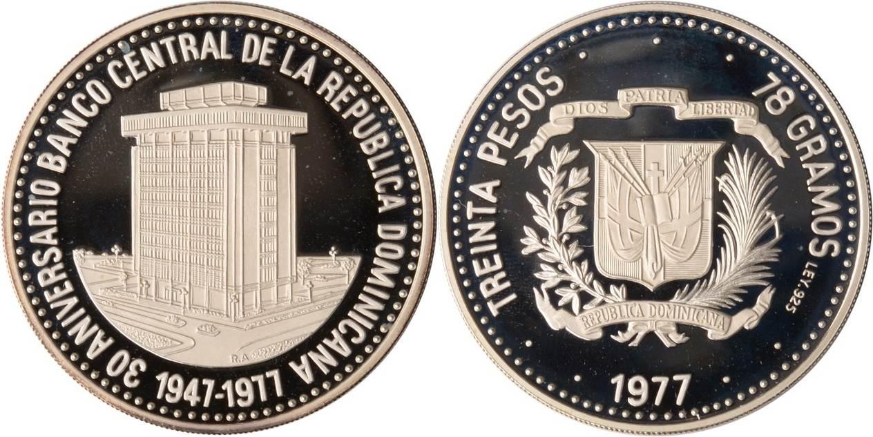 30 Pesos 1977 Dominikanische republik Dominikanische Republik, 30 Pesos, Zentralbankgebäude, 1977, PP PP