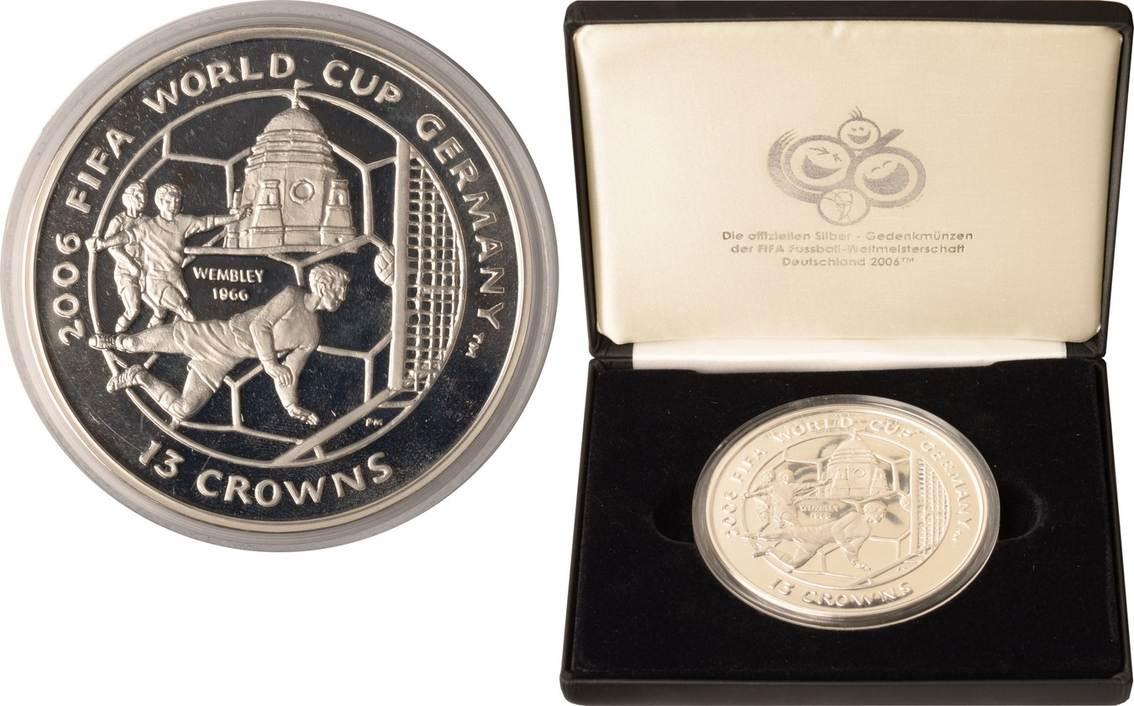 13 Crowns 2004 Isle of Man Isle of Man, 13 Crowns, Fußball-WM 2006 in Deutschland, 2004, PP im Etui PP