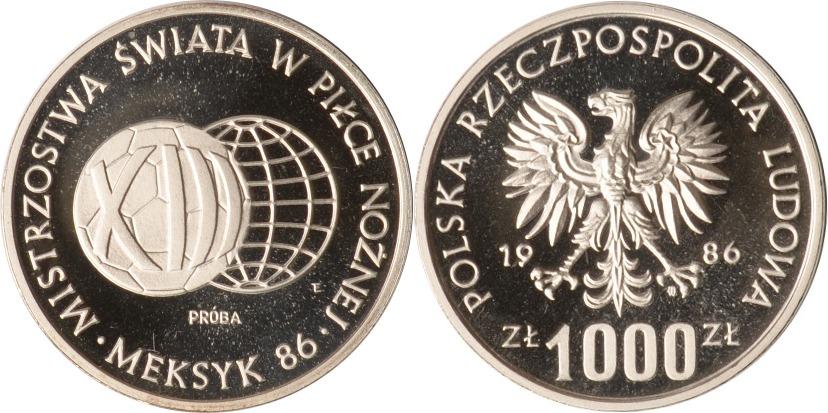 1000 Zlotych 1986 Polen Polen, 1000 Zlotych, Fußball-WM Mexiko Probe, 1986, PP PP (Probe)