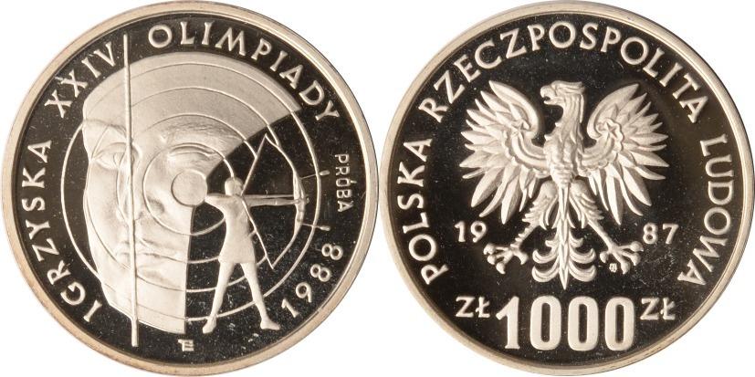 1000 Zlotych 1987 Polen Polen, 1000 Zlotych, Bogenschießen Probe, 1987, PP PP (Probe)
