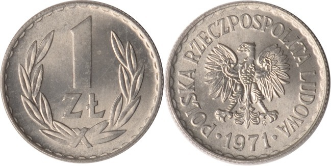 1 Zloty 1971 Polen Polen, 1 Zloty, 1971, fast st fast st