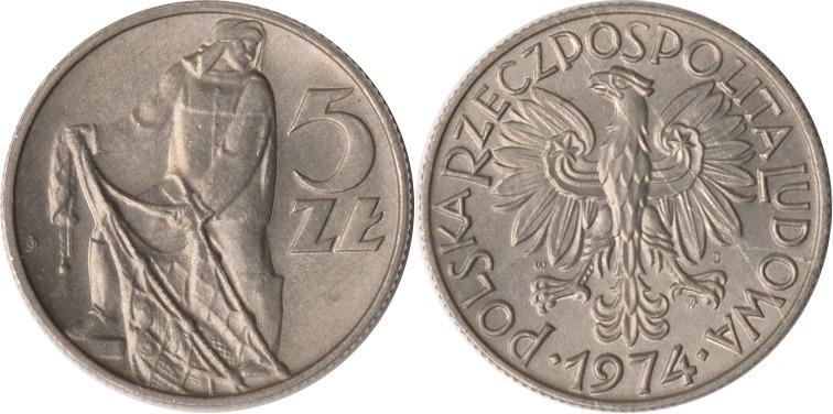 5 Zlotych 1974 Polen Polen, 5 Zlotych, 1974, fast st fast st