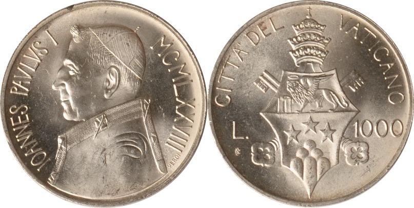 1000 Lire 1978 Vatikan Vatikan, 1000 Lire, Papst Johannes Paul I., 1978, st st