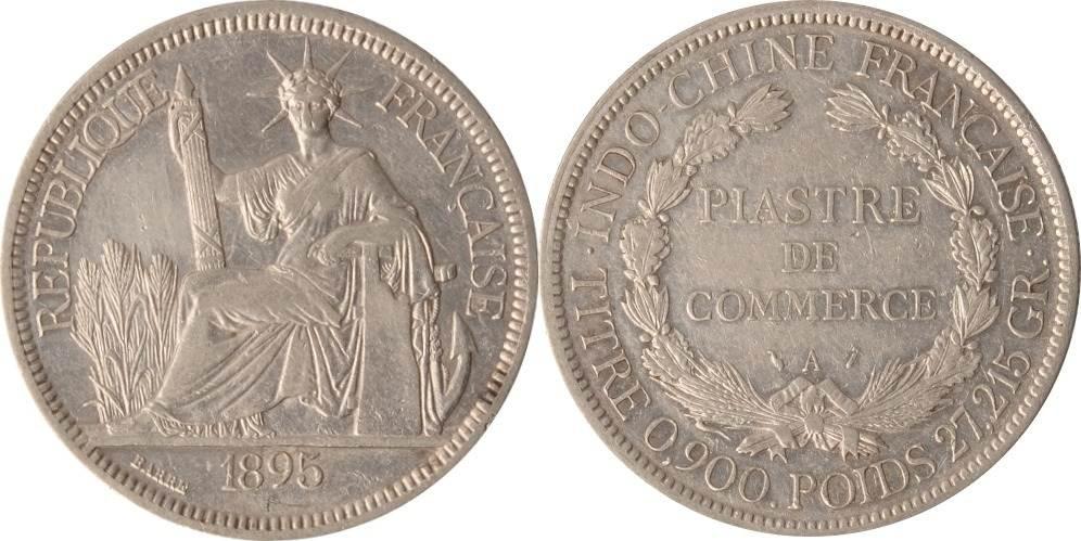 "1 Piastre 1895 Vietnam / Französisch Indochina Indochina, 1 Piastre de Commerce, ""Titre 0.900 Poids 27,215 gr"", 1895, ss+ ss+"
