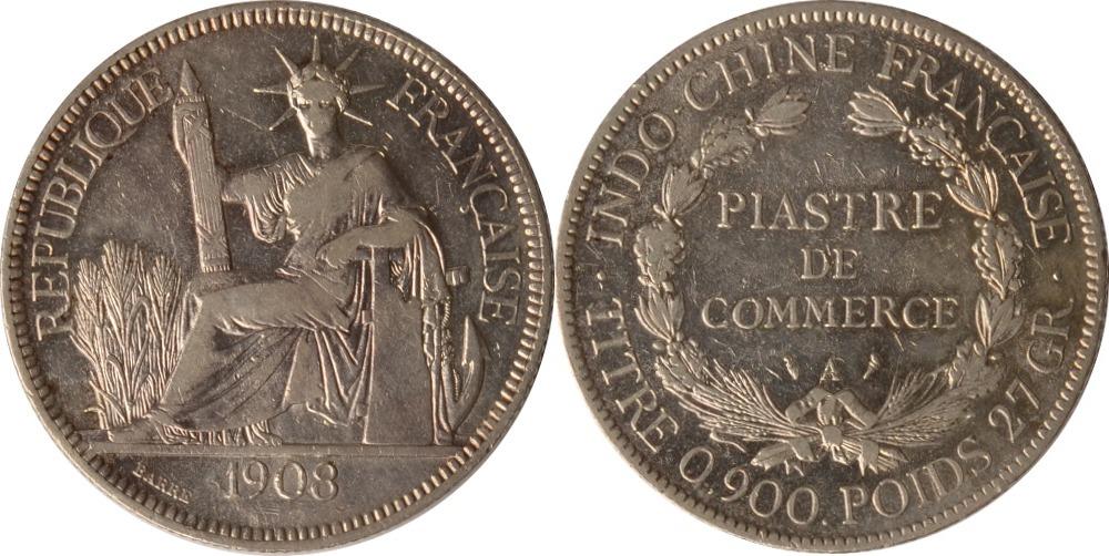 1 Piastre 1908 Vietnam / Französisch Indochina Indochina, 1 Piastre, 1908, ss/vz ss/vz