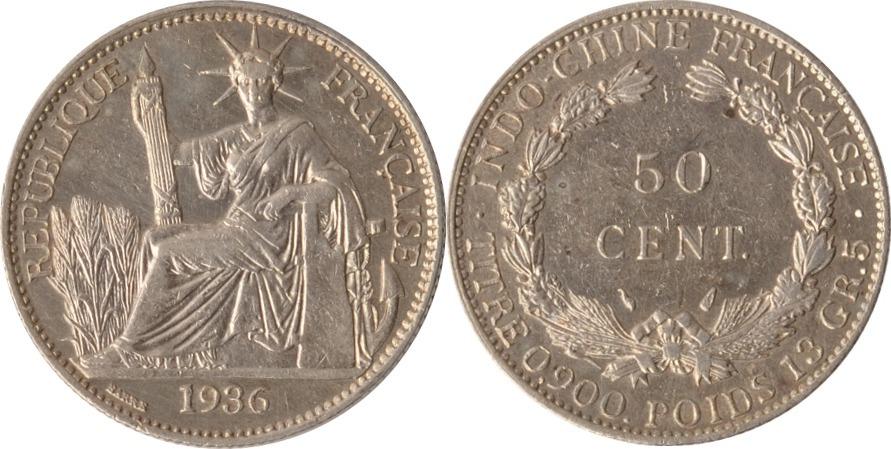 50 Centimes 1936 Vietnam / Französisch Indochina Indochina, 50 Centimes, 1936, ss+ ss+