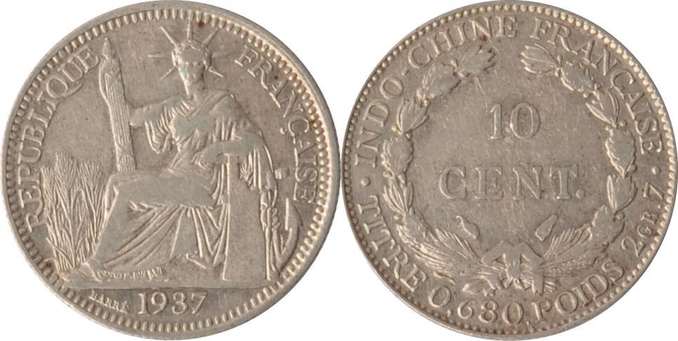 10 Centimes 1937 Vietnam / Französisch Indochina Indochina, 10 Centimes, 1937, ss/vz ss/vz