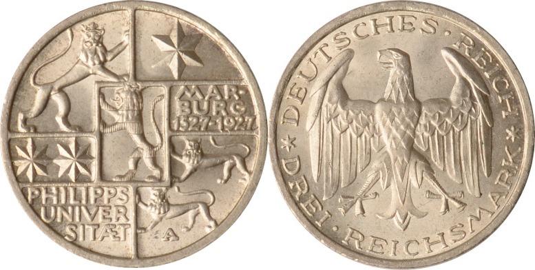 3 Reichsmark 1927 A Weimar Weimar, 3 Reichsmark, Universität Marburg, 1927 A, fast st fast st