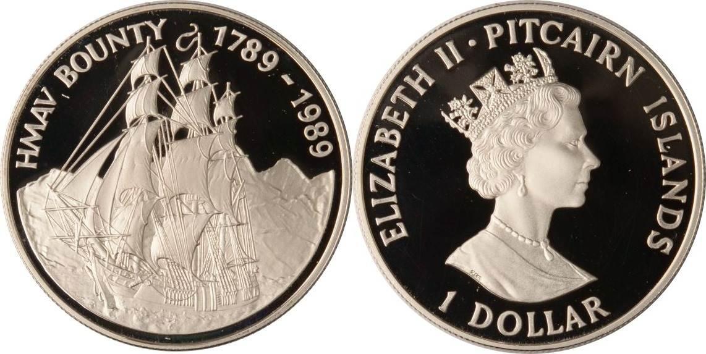 1 Dollar 1989 Pitcairn Pitcairn, 1 Dollar, H.M.A.V. Bounty, 1989, PP PP