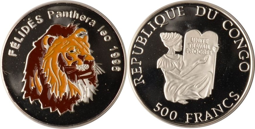 500 Francs 1996 Kongo Kongo, 500 Francs, Löwenkopf, 1996, PP PP mit Farbapplikation