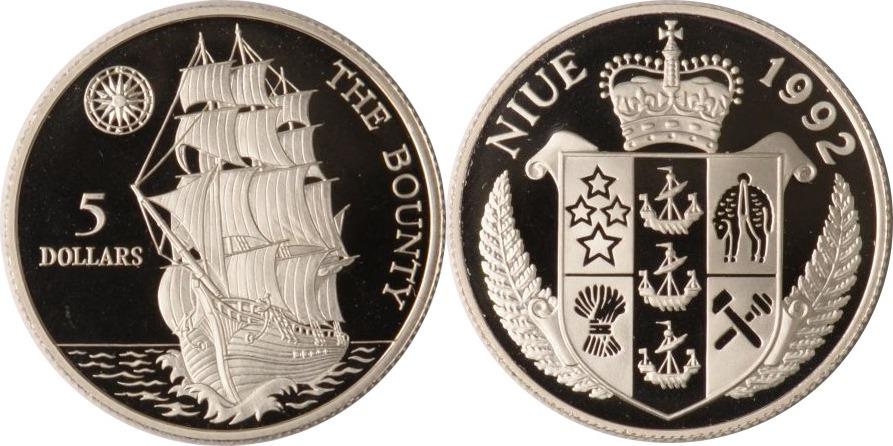 5 Dollars 1992 Niue Niue, 5 Dollars, H.M.A.V. Bounty, 1992, PP PP