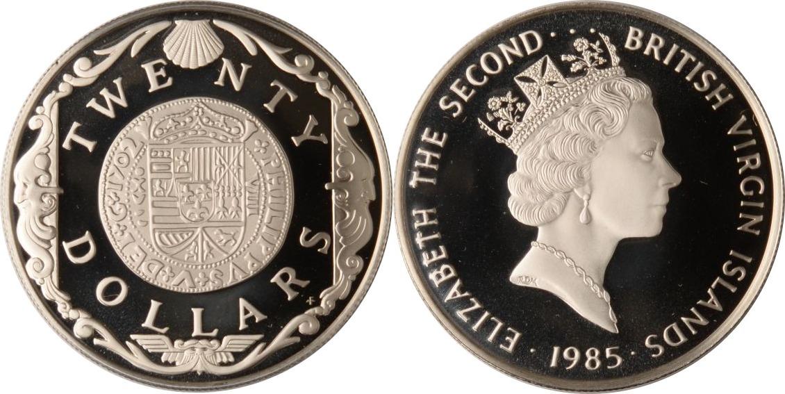 20 Dollars 1985 Britische Jungferninseln Britische Jungferninseln, 20 Dollars, Spanische Golddublone, 1985, PP PP