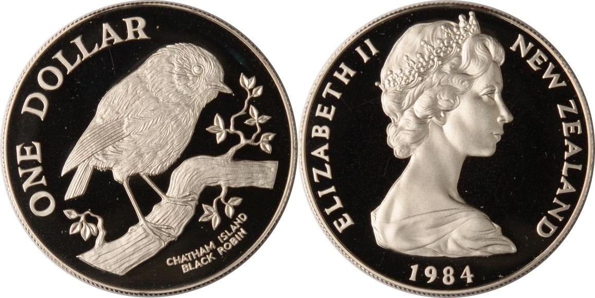 1 Dollar 1984 Neuseeland Neuseeland, 1 Dollar, Schwarzer Rubinvogel, 1984, PP PP