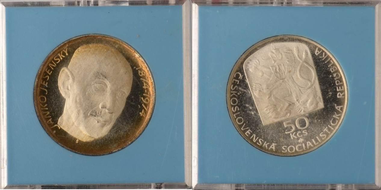 50 Korun 1974 Tschechoslowakei Tschechoslowakei, 50 Korun, Janko Jesensky, 1974, PP in Originalverp. PP