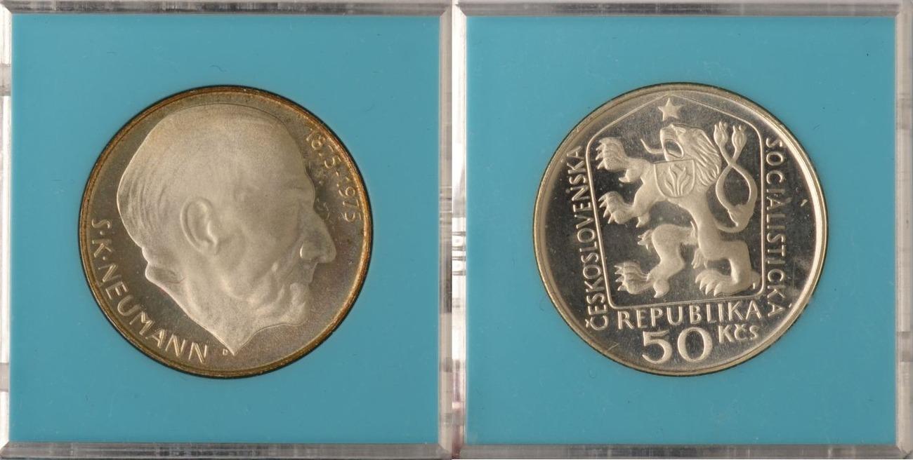 50 Korun 1975 Tschechoslowakei Tschechoslowakei, 50 Korun, Stansilav Kostka Neumann, 1975, PP in Originalverp. PP