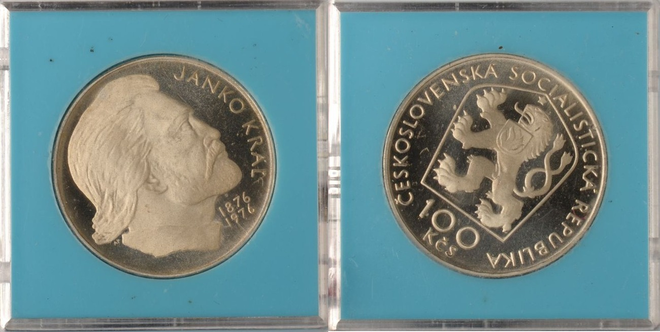 100 Korun 1976 Tschechoslowakei Tschechoslowakei, 100 Korun, Janko Kral, 1976, PP in Originalverp. PP