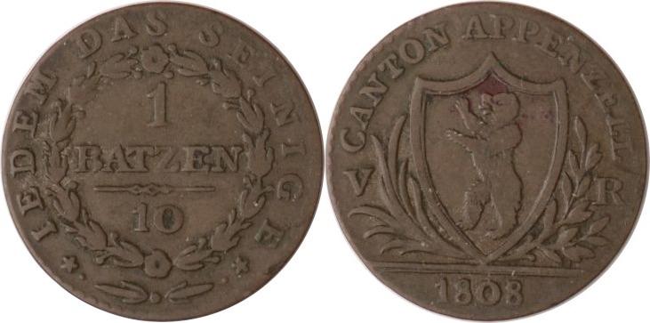 1 Batzen 1808 Schweiz - Appenzell Appenzell, 1 Batzen, 1808, ss+ ss+