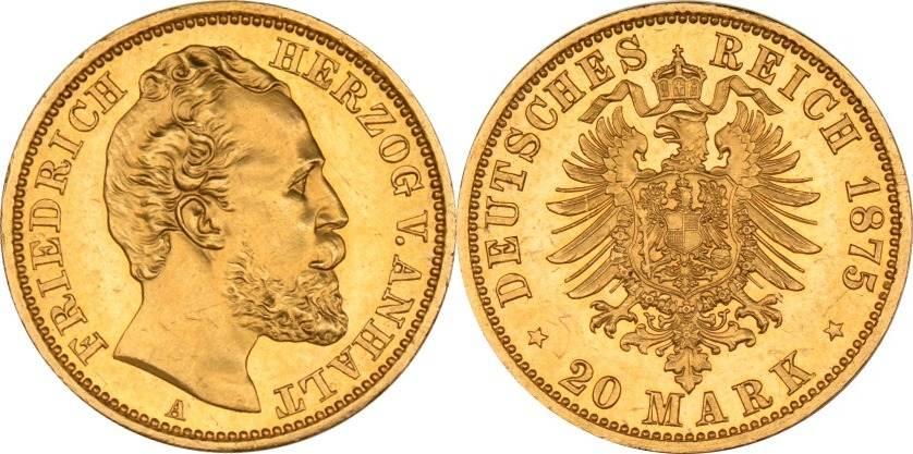 20 Mark 1875 Kaiserreich - Anhalt Anhalt, 20 Mark, Friedrich I., 1875, fast st fast st
