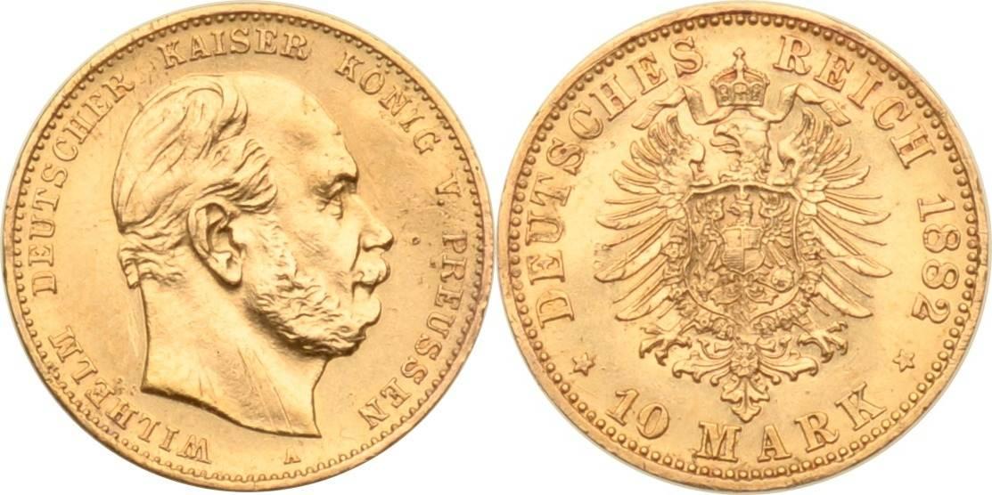 10 Mark 1882 Kaiserreich - Preussen Preussen, 10 Mark, Wilhelm I., 1882, VS: vz / RS: vz+ VS: vz / RS: vz+