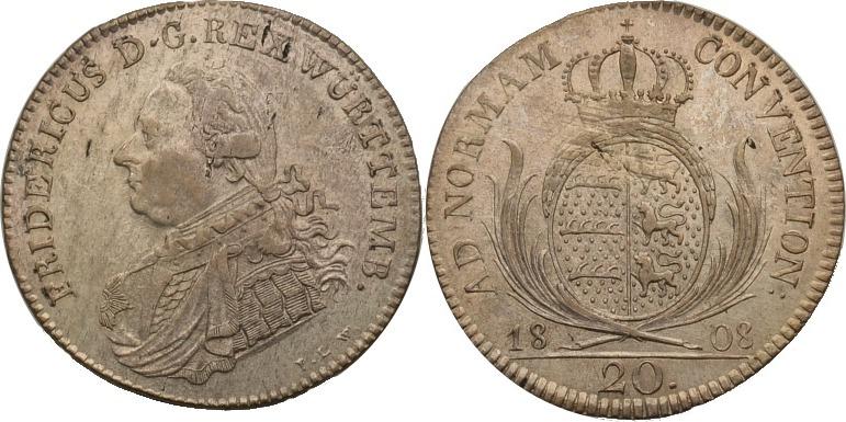 20 Kreuzer 1808 Württemberg Friedrich I. 1806-1816 vz