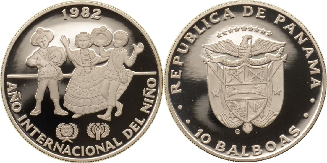 10 Balboas 1982 Panama Panama, 10 Balboas, Drei tanzende Kinder in Nationaltracht, 1982, PP PP