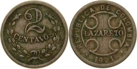 2 Centavos 1921 Kolumbien Kolumbien, 2 Centavos, 1921, ss ss
