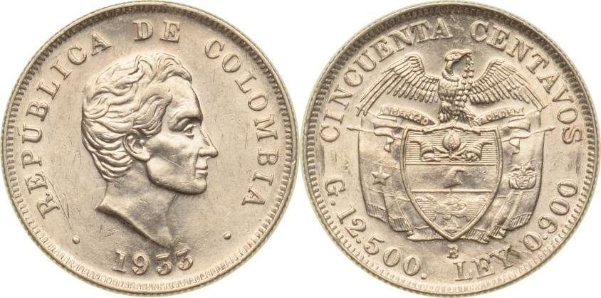 50 Centavos 1933 Kolumbien Kolumbien, 50 Centavos, 1933, vz/st vz/st