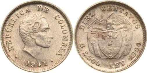 10 Centavos 1941 Kolumbien Kolumbien, 10 Centavos, Simon Bolivar, 1941, vz/st vz/st