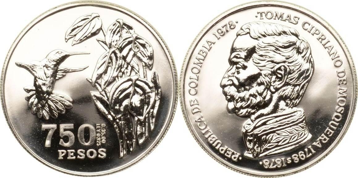 750 Pesos 1978 Kolumbien Kolumbien, 500 Pesos, Braunbauchamazilie, 1978, st st