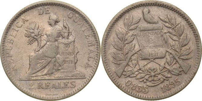 2 Reales 1895 Guatemala Guatemala, 2 Reales, 1895, ss/vz ss/vz