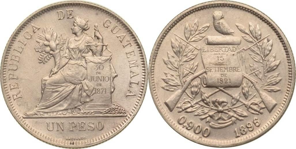 1 Peso 1896 Guatemala Guatemala, 1 Peso, 1896, vz vz