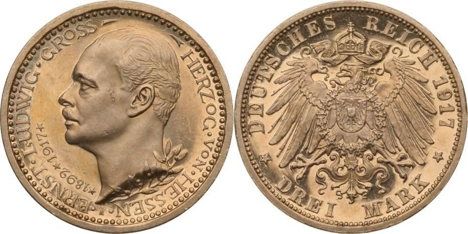 3 Mark 1917 Kaiserreich - Hessen Hessen, 3 Mark, Regierungsjubiläum Ernst Ludwig, 1917, fast st aus PP fast st aus PP