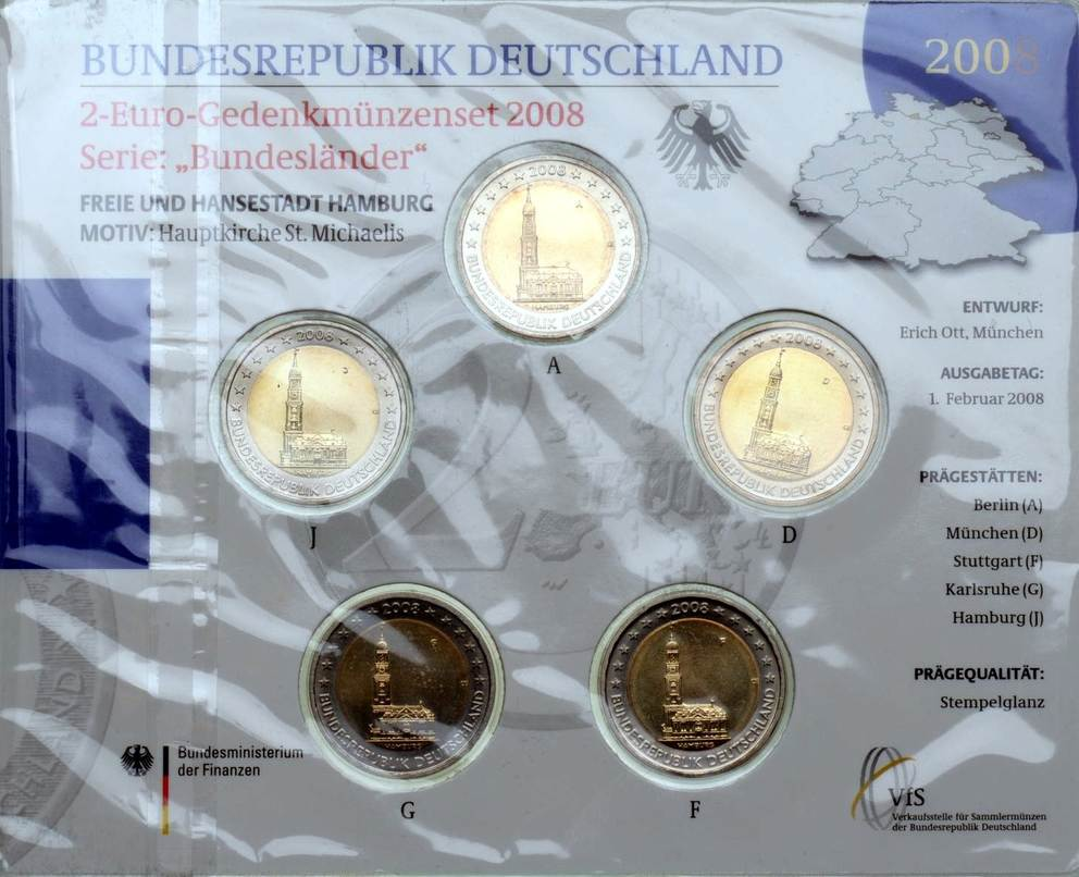 5 x 2 Euro 2008 BRD BRD, 5 x 2 Euro Set, Hansestadt Hamburg, 2008, st st