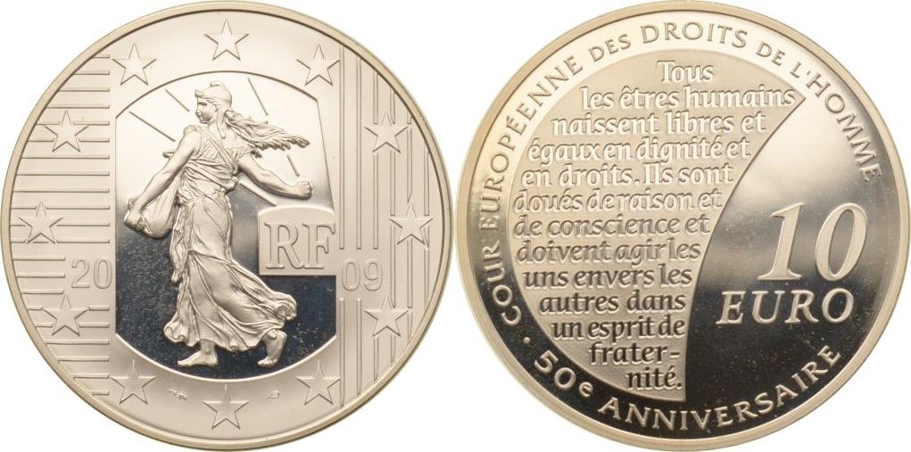 10 Euro 2009 Frankreich Frankreich, 10 Euro, Säerin (8. Ausgabe) / Menschenrechte, 2009, PP PP