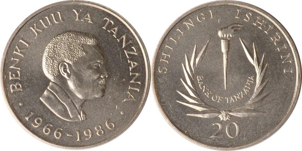 20 Shilingi 1986 Tansania Tansania, 20 Shilingi, Ali Hassan Mwinyi, 1986, st st, min. Kratzer