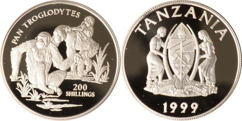 200 Shilingi 1999 Tansania Tansania, 200 Shilingi, Schimpansenfamilie, 1999, PP PP
