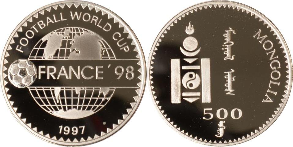 500 Tögrög 1997 Mongolei Mongolei, 500 Tögrög, Ball und Weltkugel, 1997, PP PP
