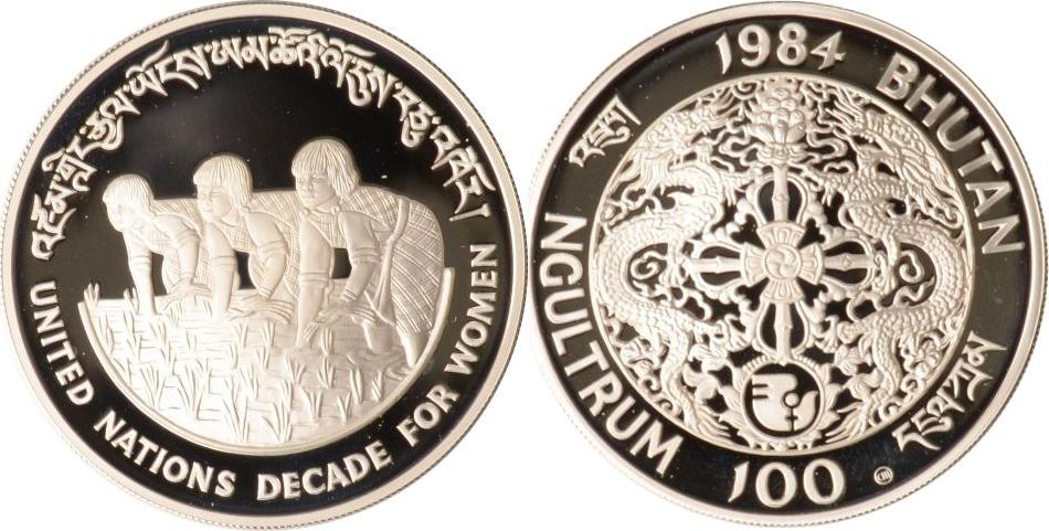 100 Ngultrum 1984 Bhutan Bhutan, 100 Ngultrum, Drei Frauen beim Reisanbau, 1984, PP, selten PP