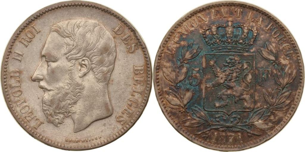5 Francs 1871 Belgien Belgien, 5 Francs, Leopold II., 1871, ss ss
