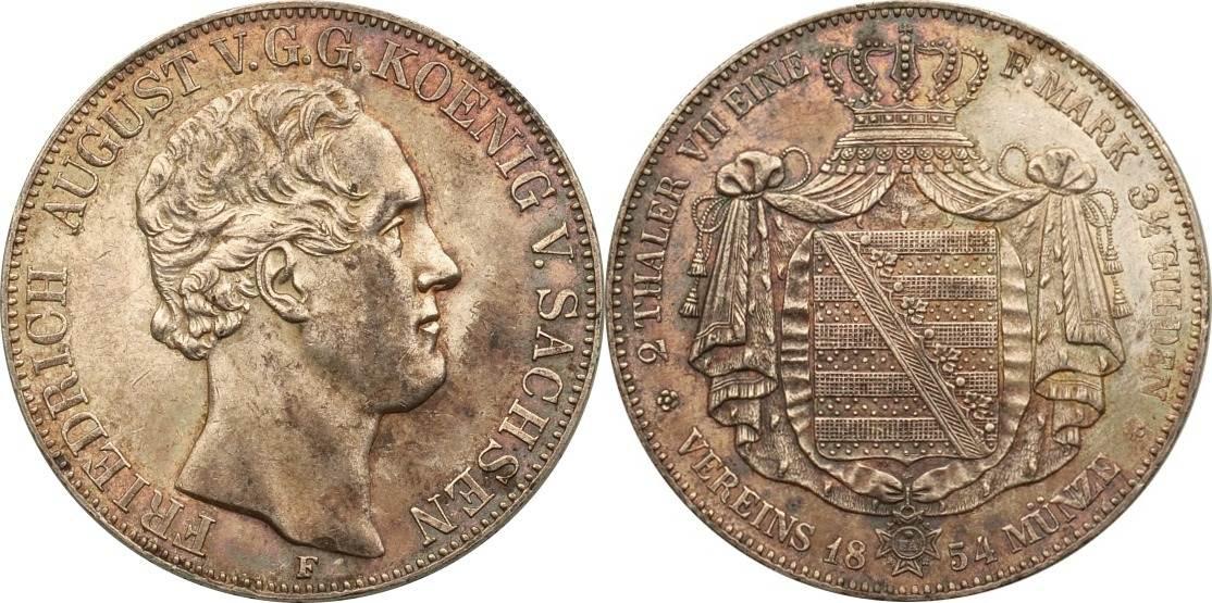 Doppeltaler 1854 F Sachsen Albertinische Linie Friedrich August König v. Sachsen, feine Patina vz/st Patina