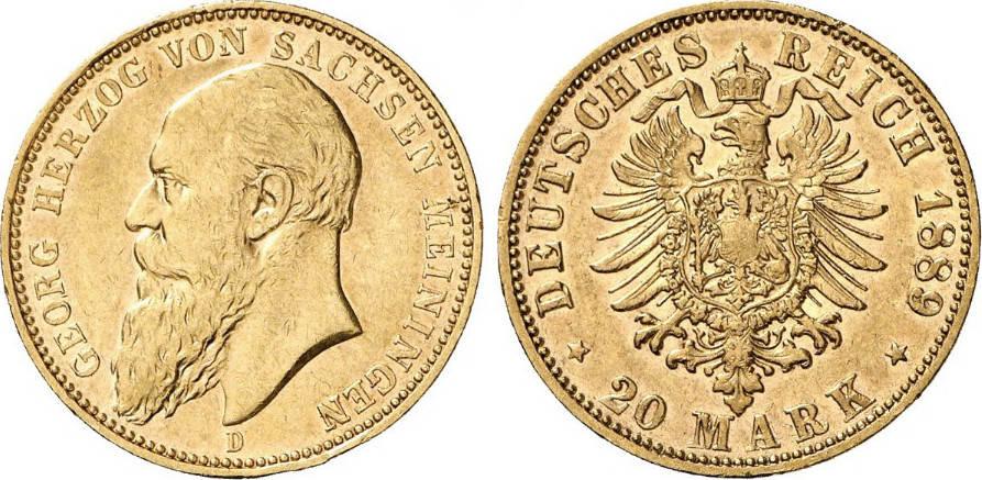 20 Mark 1889 Kaiserreich - Sachsen-Meiningen Sachsen-Meiningen, 20 Mark Gold, Georg, 1889, ss/vz ss/vz