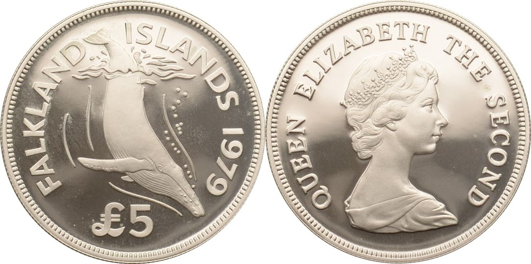 5 Pounds 1979 Falkland Inseln Buckelwal PP