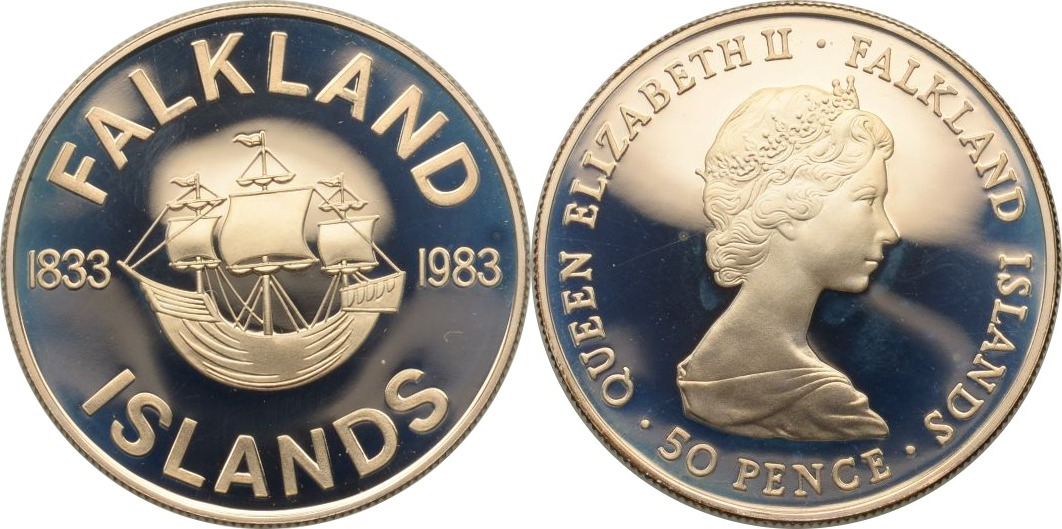 50 Pence 1983 Falkland Inseln Dreimastbark H.M.S. Desire PP