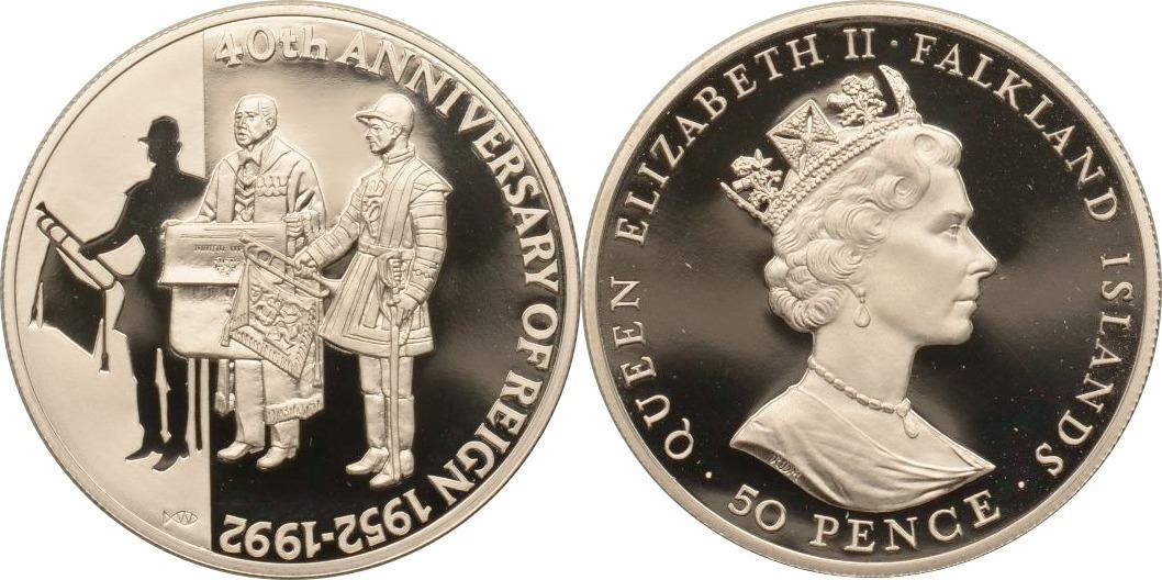 50 Pence 1992 Falkland Inseln 40. Jahrestag der Thronbesteigung von Königin Elizabeth II., Piedfort PP