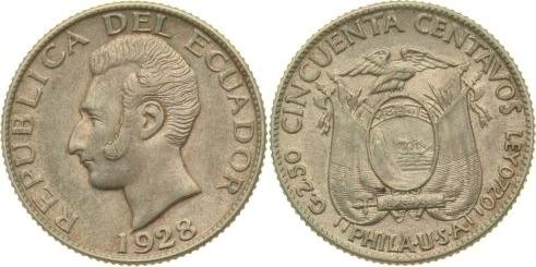 50 Centavos 1928 Ecuador vz